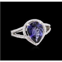 2.24 ctw Tanzanite and Diamond Ring - 14KT White Gold