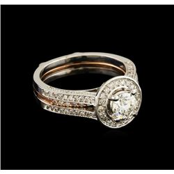1.28 ctw Diamond Wedding Ring Set - 14KT Rose and White Gold