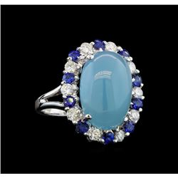 14KT White Gold 10.73 ctw Aquamarine, Sapphire and Diamond Ring