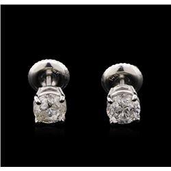 1.06 ctw Diamond Solitaire Earrings - 14KT White Gold