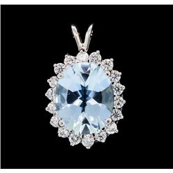 5.44 ctw Aquamarine and Diamond Pendant - 18KT White Gold