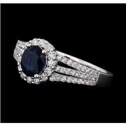 0.88 ctw Sapphire and Diamond Ring - 14KT White Gold
