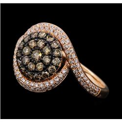0.75 ctw Brown and White Diamond Ring - 14KT Rose Gold