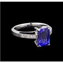 2.61 ctw Tanzanite and Diamond Ring - 14KT White Gold