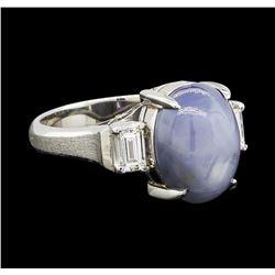 6.30 ctw Star Sapphire and Diamond Ring - Platinum