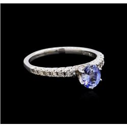 0.81 ctw Sapphire and Diamond Ring - 10KT White Gold