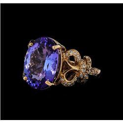 9.15 ctw Tanzanite and Diamond Ring - 14KT Rose Gold