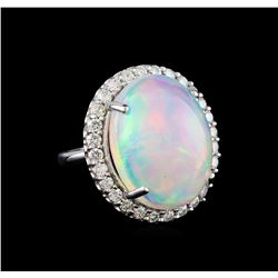 17.50 ctw Opal and Diamond Ring - 14KT White Gold