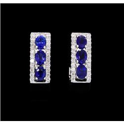 1.47 ctw Sapphire Curve Earrings - 18KT White Gold