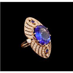15.02 ctw Tanzanite, Sapphire and Diamond Ring - 14KT Rose Gold