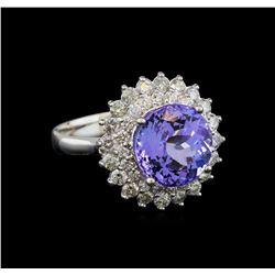 14KT White Gold 4.36 ctw Tanzanite and Diamond Ring