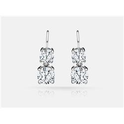 Diamond Earrings - 14KT White Gold