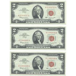 1963 $2 Uncirculated Red Seal Bill Lot of 3