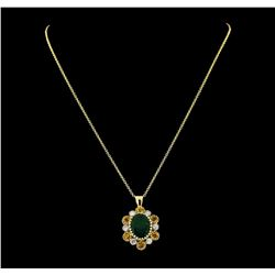 6.80 ctw Emerald, Sapphire and Diamond Pendant With Chain - 14KT Yellow Gold