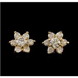 2.36 ctw Diamond Earrings - 14KT Yellow Gold