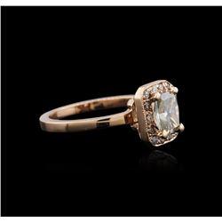 14KT Rose Gold 1.04 ctw Fancy Green Diamond Ring