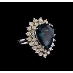14KT White Gold 12.42 ctw Topaz and Diamond Ring