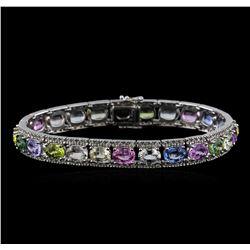 28.38 ctw Multi Color Sapphire and Diamond Bracelet - 18KT White Gold