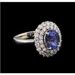 2.73 ctw Tanzanite and Diamond Ring - 14KT White Gold