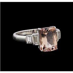 2.09 ctw Morganite and Diamond Ring - 14KT White Gold