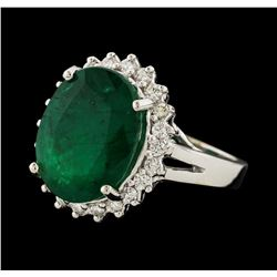 6.70 ctw Emerald and Diamond Ring - 14KT White Gold
