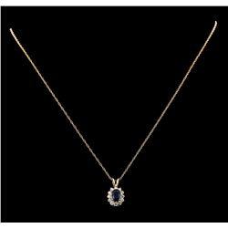 0.88 ctw Sapphire and Diamond Pendant - 14KT Yellow Gold