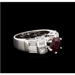1.26 ctw Ruby and Diamond Ring - 14KT White Gold