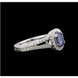 0.90 ctw Tanzanite and Diamond Ring - 18KT White Gold