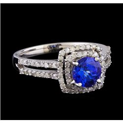 1.31 ctw Tanzanite and Diamond Ring - 14KT White Gold