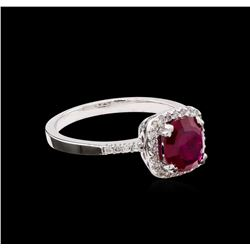 1.12 ctw Ruby and Diamond Ring - 14KT White Gold