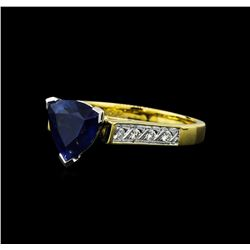 2.82 ctw Blue Sapphire and Diamond Ring - 18KT Two Tone Gold