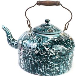 Large green swirl enamel porcelain tea pot, overall very nice condition showing wear mark to lid and