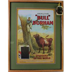 Nicely framed and matted reprint Bull Durham Tobacco print, depicts Treed cowboy wait out the bull,