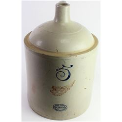 5 gallon Red Wing crock jug showing overall good condition, couple of small chips to leading edge.