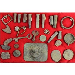 """Group of approx. 25 pieces of artifacts with old tags """"Found in Fremont County Colorado"""", includes s"""