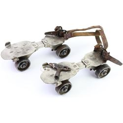 Pair of Winchester roller skates remaining in good usable condition with the original leather straps