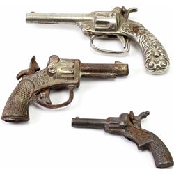 Lot of 3 cap guns, 1 functioning and 1 non functioning and  1 Nickel plated functioning.