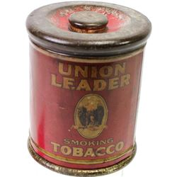 """Union Leader Tobacco tin showing overall good condition, old coat of yellow shellac, 6"""" tall X 5"""" ac"""