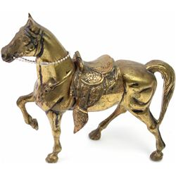 """Brass horses with removable saddle standing approx. 7 1/2"""" tall, 8"""" long, shows overall good conditi"""