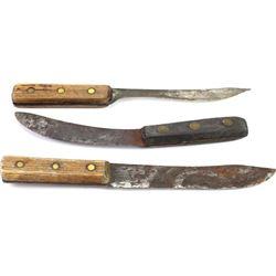 Lot of 3 unmarked butcher knives in fair overall condition.