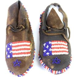 Later beaded moccasins with American flag motif showing overall good condition, all beads intact, si