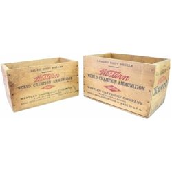 """Lot of 2 wooden western shotgun shell boxes one shows fine condition 14 1/2"""" X 9"""" the other very goo"""