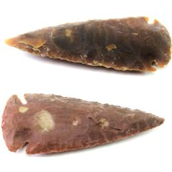 """2 stone arrowheads both intact, one 3"""" overall, other 2 /24"""" overall length."""