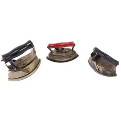 Collection of 3 childs sad irons, 2 marked AsBESTos, the 3rd marked Dover. All complete.