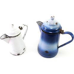 Collection of 2 cowboy coffee pots, one blue and white enamel showing some loss to both lid and pot,