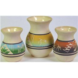 """Collection of 3 signed Dakota Pottery vases the tallest 6"""", NO chips cracks or repairs."""