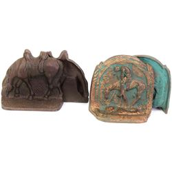 Collection of 2 pair cast iron bookends includes End of the Trail, both unmarked and very good condi