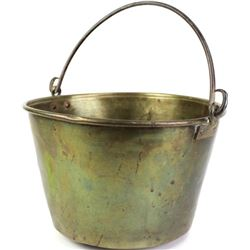 Early brass trade pale, hallmarked on bottom with original wrought iron bale intact.