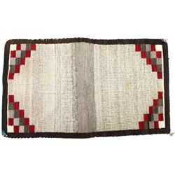 """Nicely woven Navajo saddle blanket all naturals with red geometric pattern, fine condition, 30"""" X 48"""