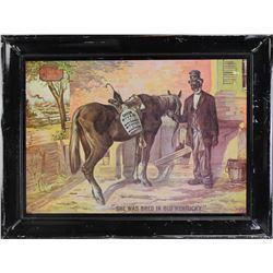"Self framed tin advertiser for Green River Whiskey entitled ""She Was Bred in Old Kentucky"", vintage"
